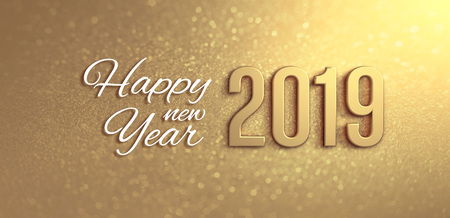 New Year 2019 date number and Greetings on a glittering gold background - 3D illustration
