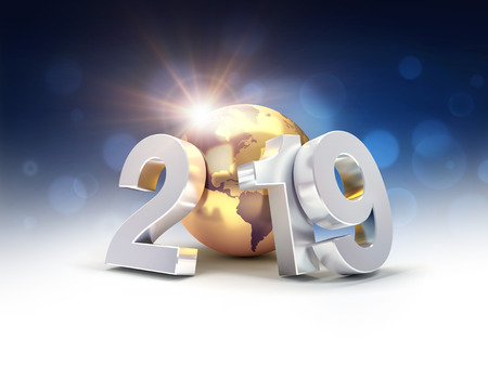 2019 New Year silver date number composed with a gold planet earth, focused on America, shining stars and light rays behind - 3D illustration