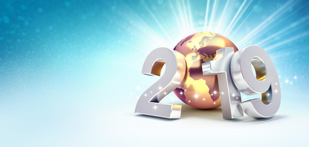 2019 New Year silver date number composed with a gold planet earth, focused on Europe and Africa, shining stars and light rays behind - 3D illustration Reklamní fotografie