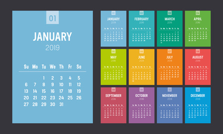 Year 2019 colorful minimalist calendar on black background. Week starts Sunday. Vector template.