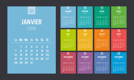 Year 2019 colorful minimalist calendar, in French language, on black background. Week starts Monday. Vector template.