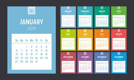 Calendario imprimible colorido del año 2019. Una página por mes. La semana comienza el domingo. Plantilla de vector.