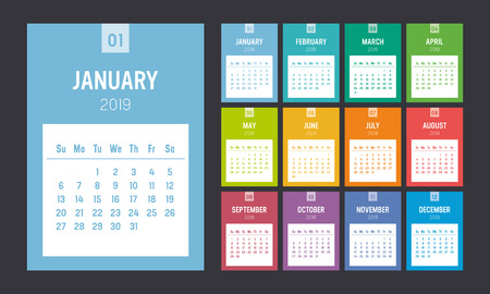 Calendario stampabile colorato anno 2019. Una pagina al mese. La settimana inizia domenica. Modello di vettore.