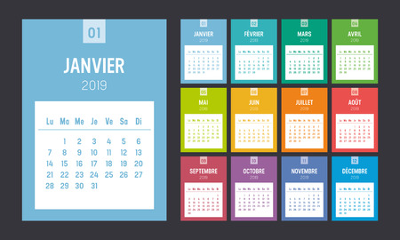 Year 2019 colorful printable calendar, in French language. One page per month. Week starts Monday. Vector template.  イラスト・ベクター素材