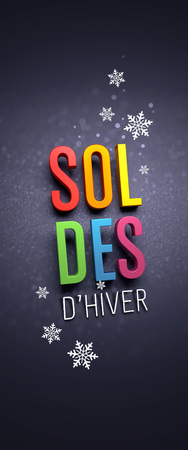Colorful Winter Sale writing in French language, with snowflakes shapes on black banner - 3D illustration