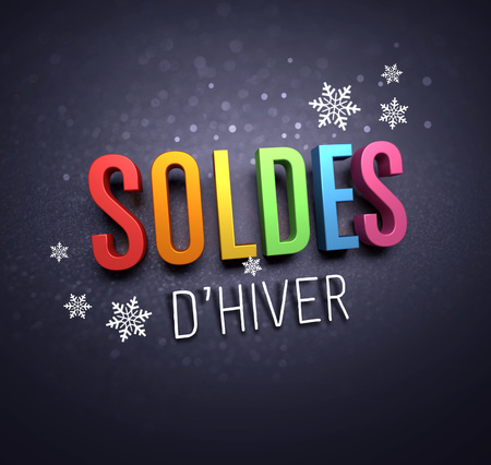 Colorful Winter Sale writing in French language, with snowflakes shapes on black background - 3D illustration