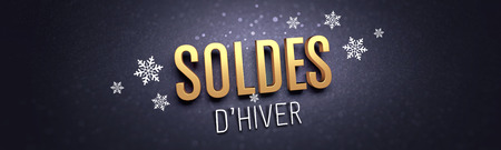 Gold Winter Sale writing in French language, with snowflakes shapes on black banner - 3D illustration Reklamní fotografie