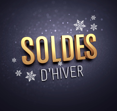 Gold Winter Sale writing in French language, with snowflakes shapes on black background - 3D illustration