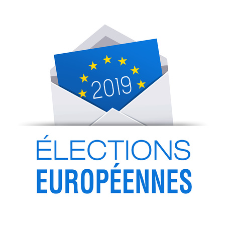 Voting envelope icon for European elections 2019, title written in French language