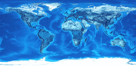 Detailed flat view of the Earth and its landforms. Global world map colored in blue. 3D illustration