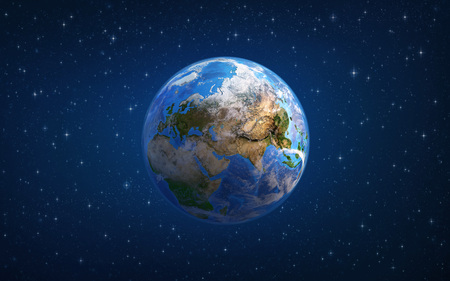 Planet Earth in space, focused on Europe and Asia. 3D illustration