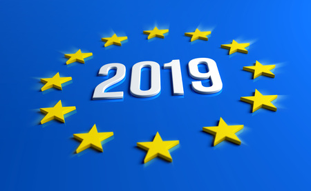 Year 2019 date number inside yellow stars of Europe Flag. European elections. 3D illustration.