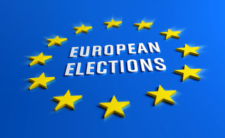 European elections white title in the blue flag of Europe surrounded by 12 yellow stars. 3D illustration. Stock fotó