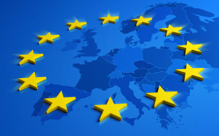 Europe blue flag and yellow stars with European Union map inside - 3D illustration