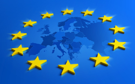 Europe blue flag and yellow stars with European Union map inside - 3D illustration Reklamní fotografie - 119793036