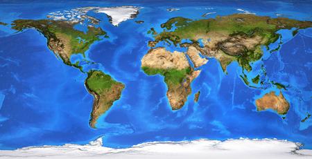 Detaillierte flache Ansicht des Planeten Erde und seiner Landschaftsformen. Abgeflachte globale Weltkarte. Planisphäre in der Sommersaison. 3D-Darstellung - Elemente dieses von der NASA bereitgestellten Bildes