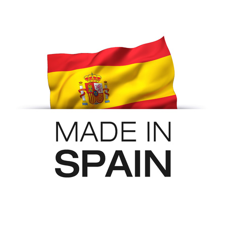 Made in Spain - Guarantee label with a waving Spanish flag. Reklamní fotografie - 119793041
