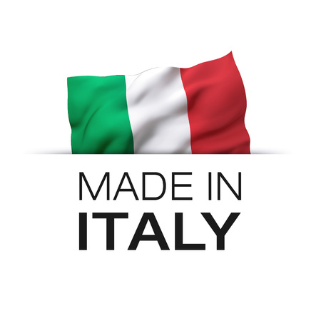 Made in Italy - Guarantee label with a waving Italian flag. Reklamní fotografie - 119793043