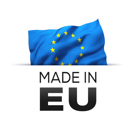Made in EU Europe - Guarantee label with a waving flag of European Union. Reklamní fotografie - 119793040