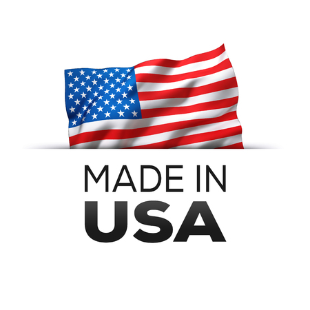 Made in USA - Guarantee label with a waving flag of the United States of America.