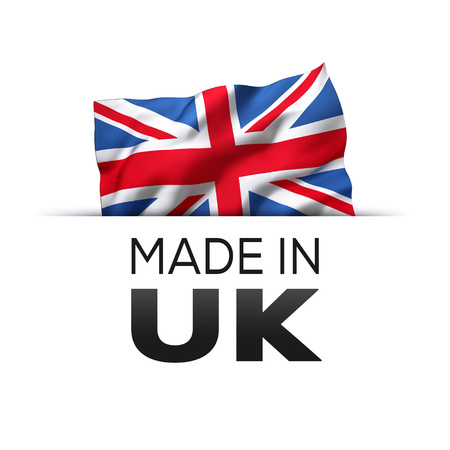 Made in UK England - Guarantee label with a waving flag of the United Kingdom. Reklamní fotografie - 119793042
