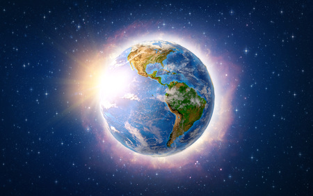 Global warming on Planet Earth, over America. 3D illustration