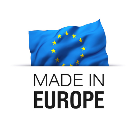 Made in EU Europe - Guarantee label with a waving flag of European Union. Reklamní fotografie - 119793049