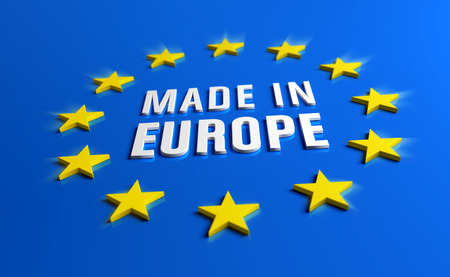 Made in Europe - Guarantee label of European Union with yellow stars on blue background. Reklamní fotografie - 119793050