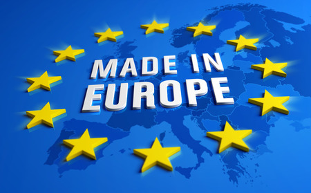 Made in Europe - Guarantee label of European Union with yellow stars on blue background, a map of the continent behind. Reklamní fotografie - 119793051