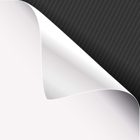 Curled corner of white paper on a black right top angle background. Vector illustration. Illustration