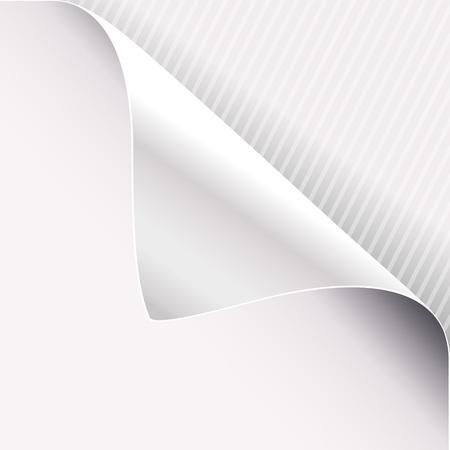 Curled corner of white paper on right top angle. Vector illustration. Ilustração
