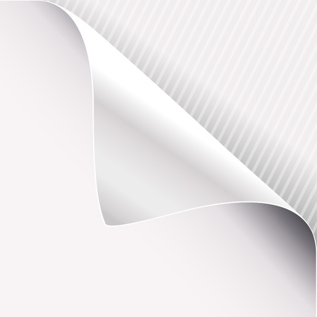 Curled corner of white paper on right top angle. Vector illustration. Illustration