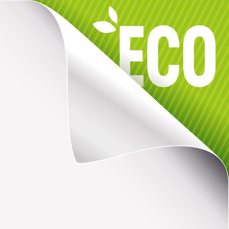 Curled corner of white paper on a green right top angle background. Eco slogan sign with leaves. Vector illustration. Stock Illustratie