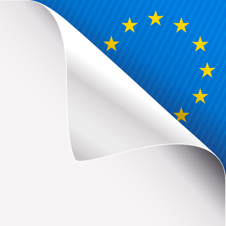 Curled corner of white paper on a blue right top angle background with European Union sign. Vector illustration.
