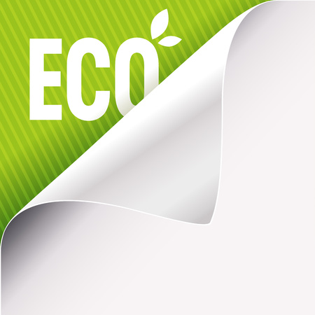 Curled corner of white paper on a green left top angle background. Eco slogan sign with leaves. Vector illustration. Stock Illustratie