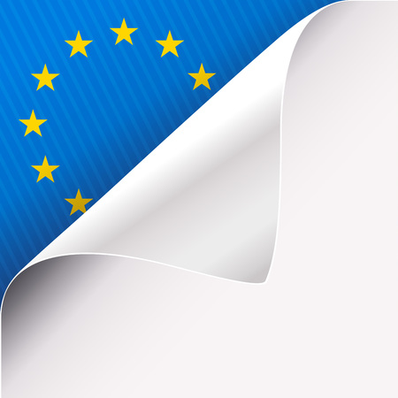Curled corner of white paper on a blue left top angle background with European Union sign. Vector illustration. Ilustrace