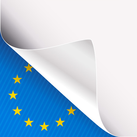 Curled corner of white paper on a blue left bottom angle background with European Union sign. Vector illustration.