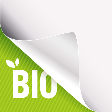 Curled corner of white paper on a green left bottom angle background. Bio slogan sign with leaves. Vector illustration.