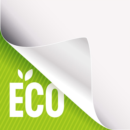 Curled corner of white paper on a green left bottom angle background. Eco slogan sign with leaves. Vector illustration.
