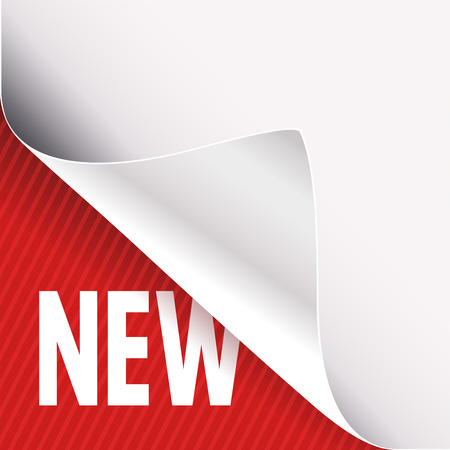 Curled corner of white paper on a red left bottom angle background. New slogan sign. Vector illustration.