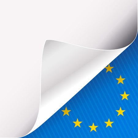 Curled corner of white paper on a blue right bottom angle background with European Union sign. Vector illustration.