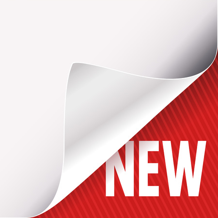 Curled corner of white paper on a red right bottom angle background. New slogan sign. Vector illustration.