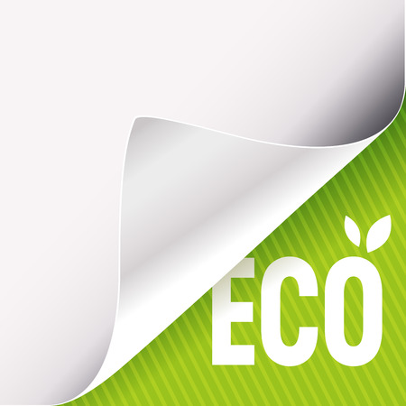Curled corner of white paper on a green right bottom angle background. Eco slogan sign with leaves. Vector illustration.