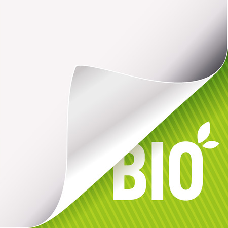 Curled corner of white paper on a green right bottom angle background. Bio slogan sign with leaves. Vector illustration.
