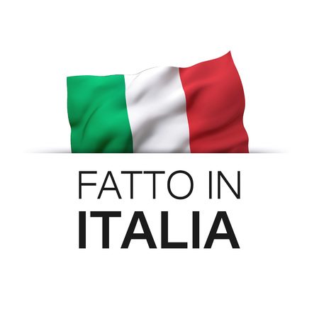 Made in Italy written in Italian language. Guarantee label with a waving Italian flag.