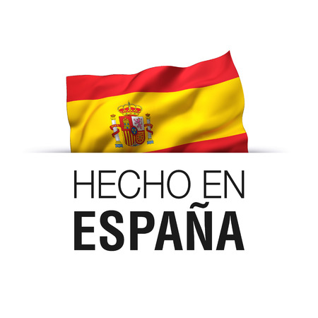 Made in Spain written in Spanish language. Guarantee label with a waving Spanish flag. Reklamní fotografie