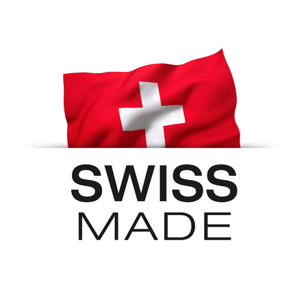 Swiss made - Guarantee label with a waving flag of Switzerland.