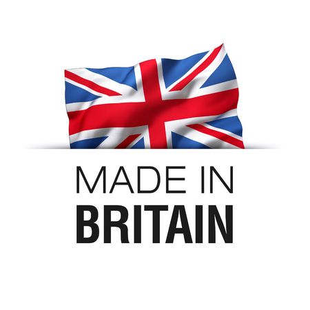 Made in Great Britain - Guarantee label with a waving flag of the United Kingdom.