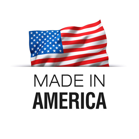 Made in America USA - Guarantee label with a waving flag of the United States of America.