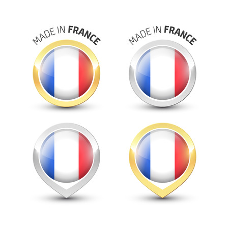 Made in France - Guarantee label with the French flag inside round gold and silver icons.